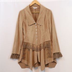 Cindy Oh Faux Suede Lace Embellished Thin Jacket